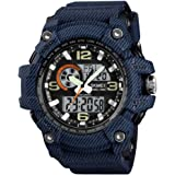 Skmei Blue Denim Countdown Timer Chronograph Alarm Water Resistant Watch for Men and Boys