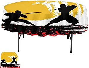 Table Cloth, D59 Inch Dinner Table Cover for Buffet Table, Japanese Decor Watercolor Style Silhouette of Warrior Ninjas in The Moonlight Medieval Battle Red Black Yellow