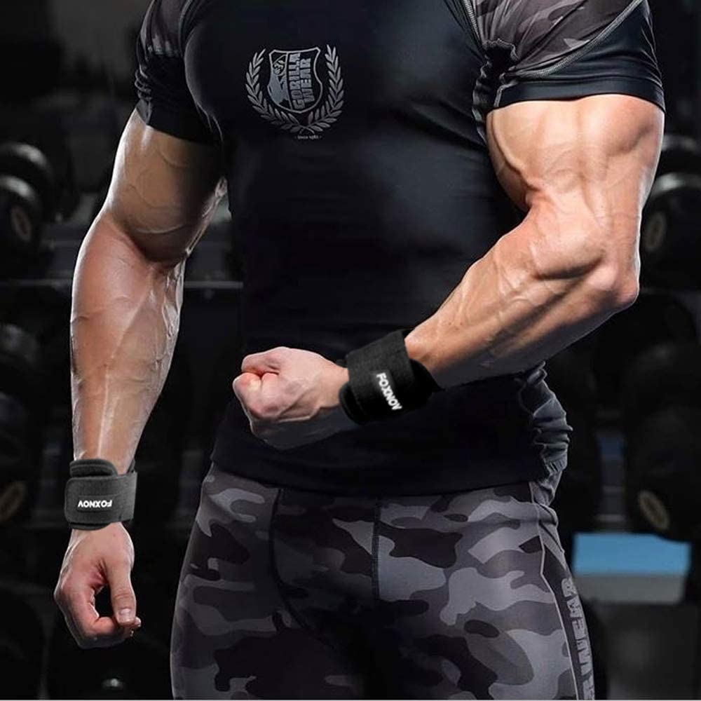 FOXNOV Padded Heavy Duty Weightlifting Straps with Cushioned Wrist Support and No Slip Rubber Build-in Grip Best for Deadlifts Adjustable Durable Nylon Bodybuilding Lifting Straps GYM