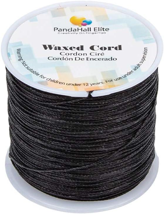 PandaHall Elite 1 Rollo 116 Yards 0.5 mm Negro Cordón de algodón Hilo Encerado Redondo para Hacer bisuteria Pulseras Collar Hilo para Abalorios