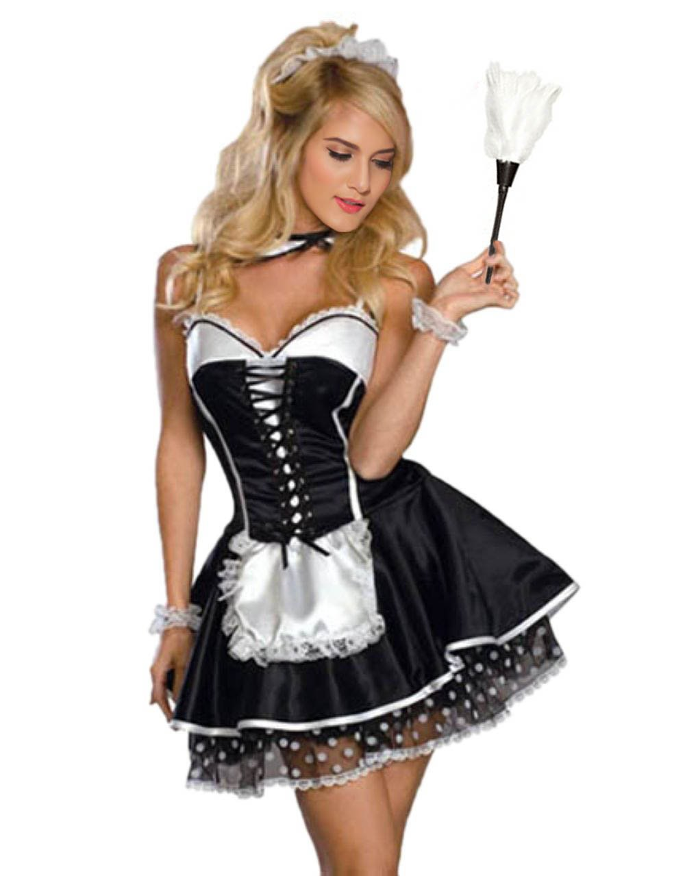 French Maid Costume - S- 2XL Women Sexy Naughty French Maid Fancy Dress Uniform for Halloween (XL)