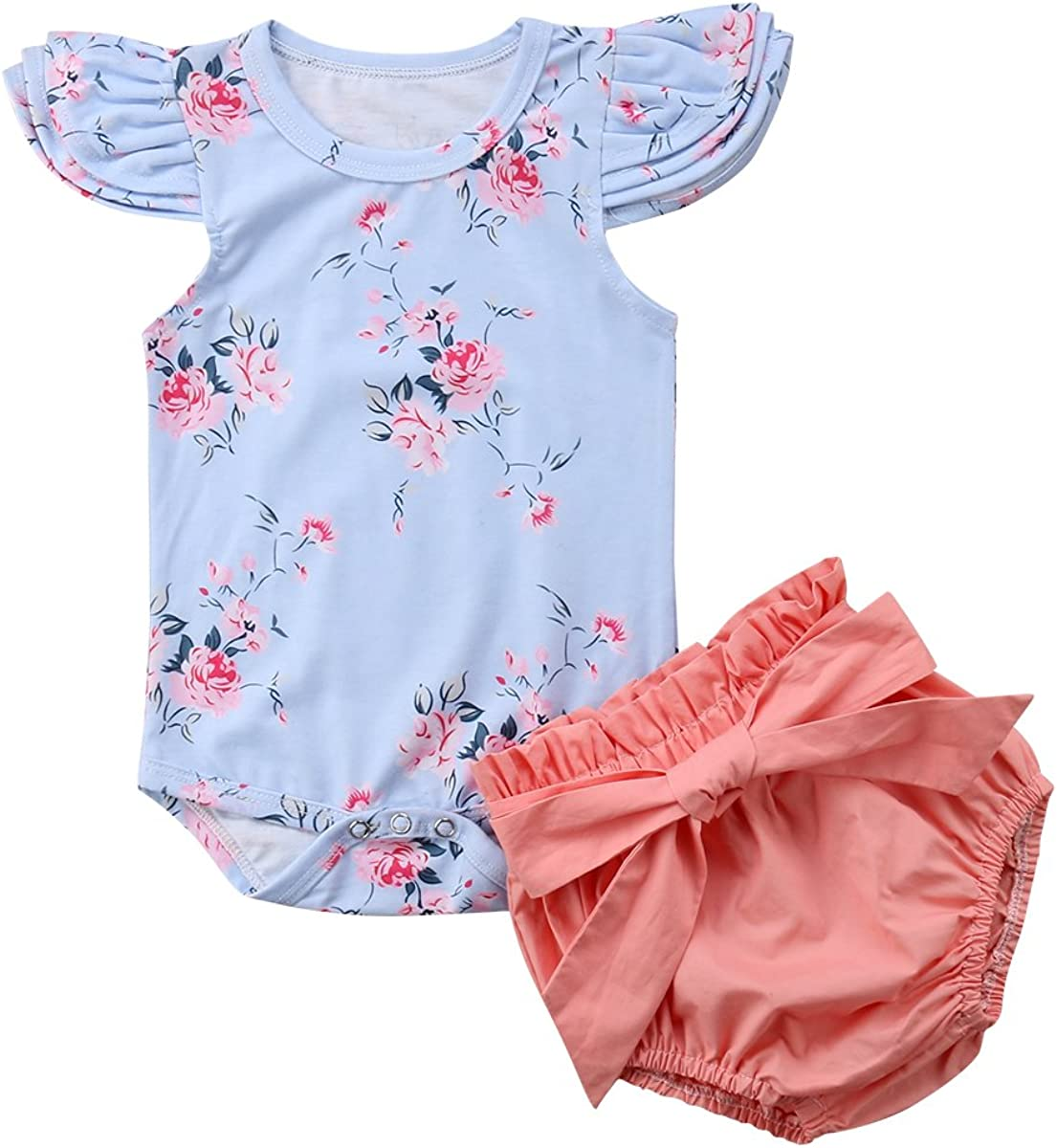 Fartido 3PCS Infant Baby Girls Letter Floral Romper Shorts Outfits Clothes