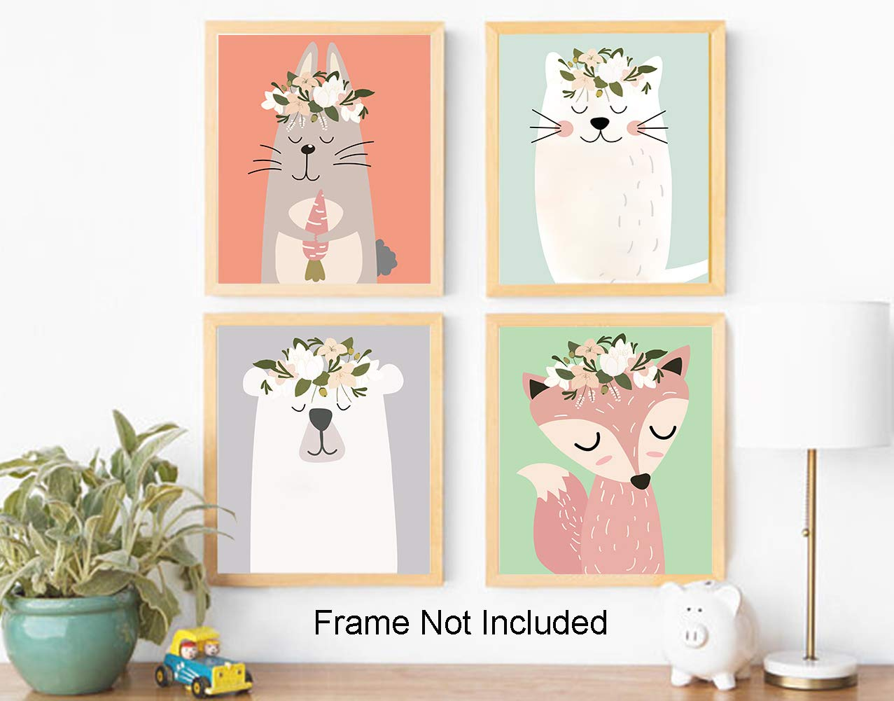 """8/""""X10/"""",Baby Safari Prints Woodland Animals Canvas Art Print Poster, Kids Room Educational Decor, Wall Pictures for Living Room Home Decor, No Frame Nursery Animals Prints Set of 4"""