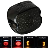 MOVOTOR Led Tail Light LED Brake Turn Signal Rear Light Low Profile Smoked Taillights Compatible with Harley Davidson Dyna Sp