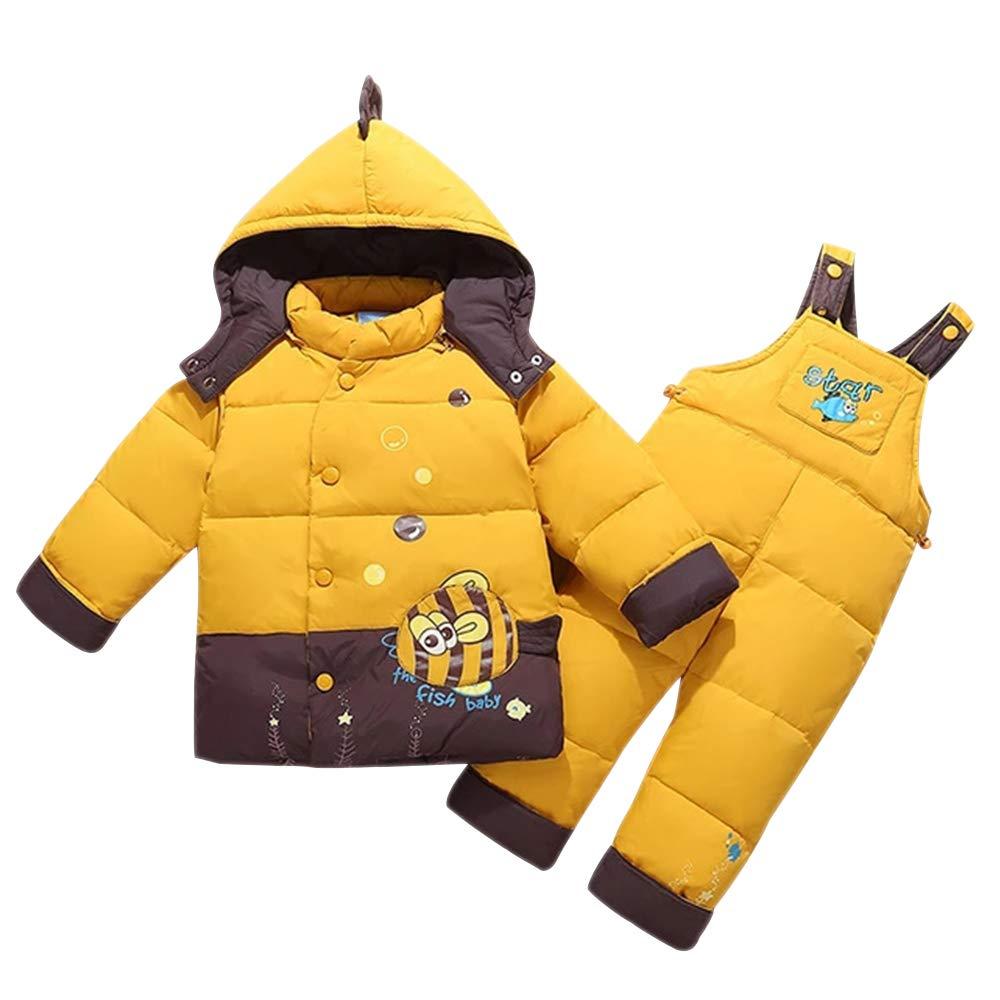 XFentech Kinder Baby Daunenanzug Set - Winter Mädchen Jungen Kleidungsset mit Kaputze Daunenjacke Daunenhose 2 Stücke