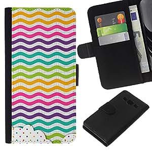 KLONGSHOP // Tirón de la caja Cartera de cuero con ranuras para tarjetas - Dot Waves Líneas del arco iris de color - Samsung Galaxy A3 //
