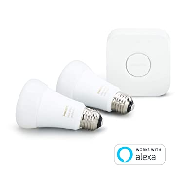 Philips Hue White and Color Ambiance A19 10W Equivalent LED Smart Light Bulb Starter Kit, 2 A19 Bulbs and 1 Bridge, Works with Alexa, Apple HomeKit and Google Assistant