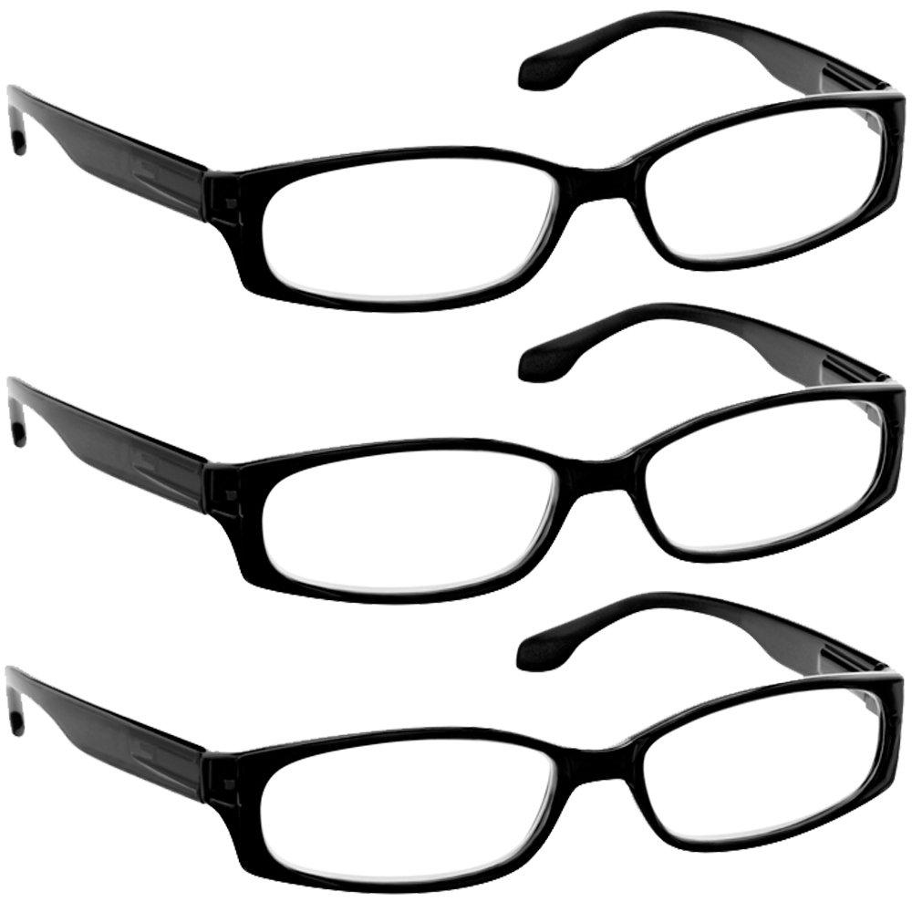 Reading Glasses 1.25 3 Black (3 Pack) F503 TruVision