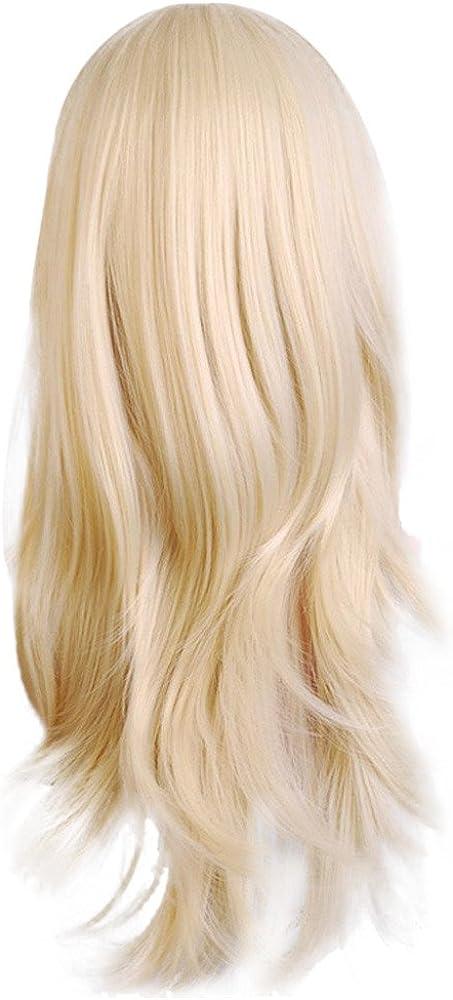 FRAUIT Parrucca Donna Nera Lunga Ondulata Parrucca Ragazza Capelli Bionda Riccia Parrucche Donna Colorate Caschetto Lunghe Cosplay Wig Curly Parrucche Ricce Carnevale
