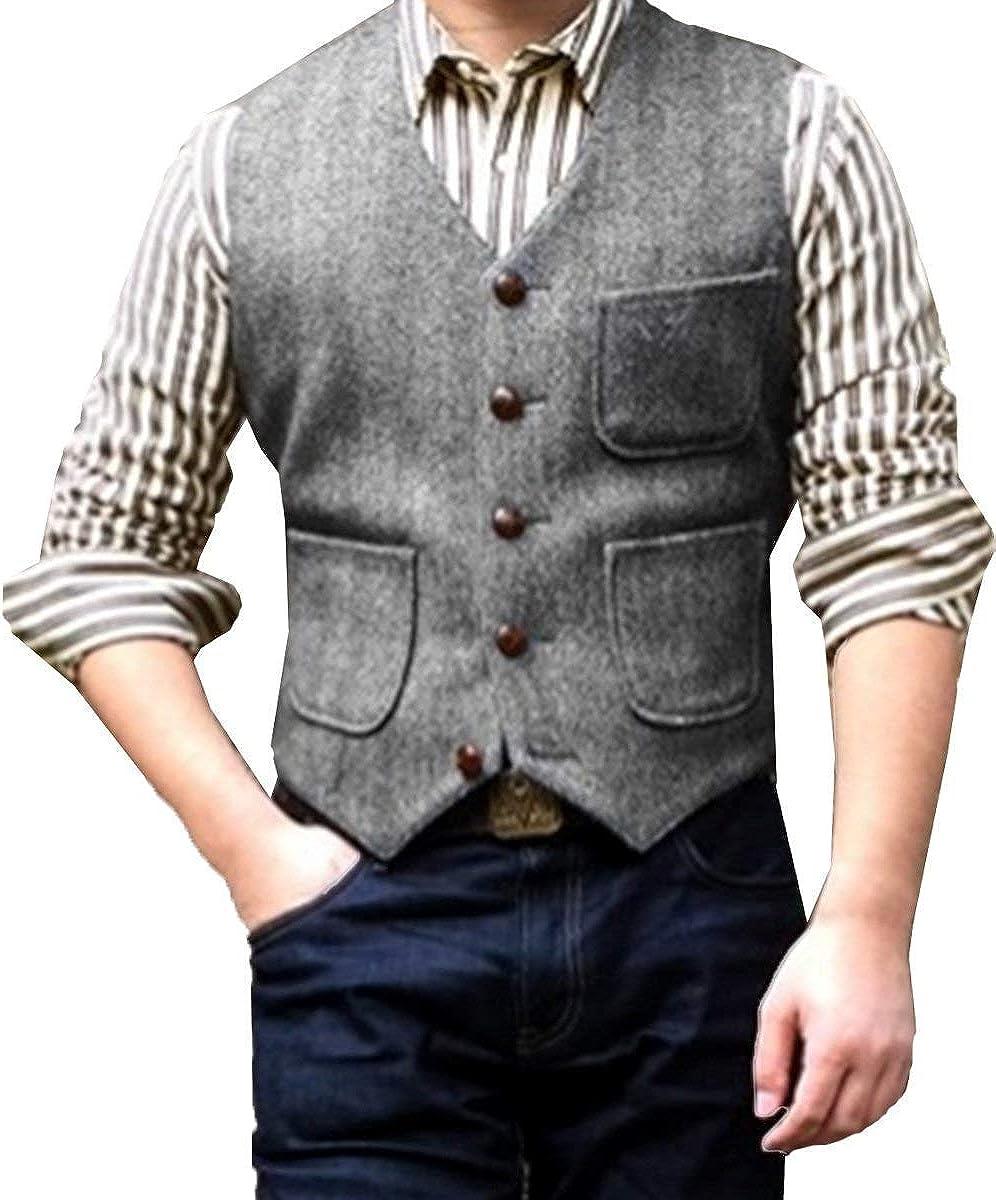 PrettyGirl Dress Mens V Neck Wool Herringbone Tweed Casual Waistcoat Business Suit Vest