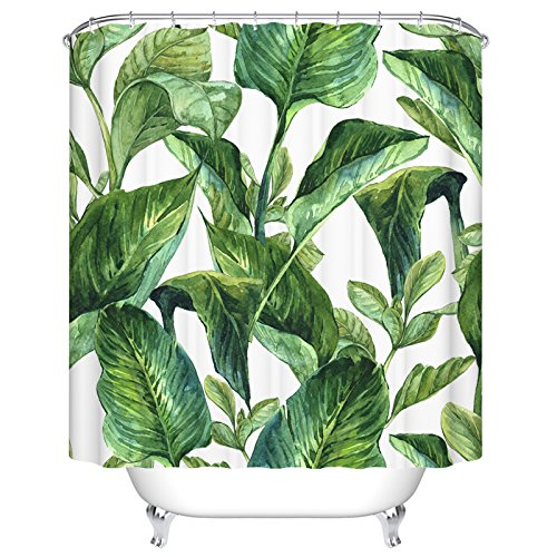 Ormis Green Leaves Pattern Shower Curtain Mildew Resistant W