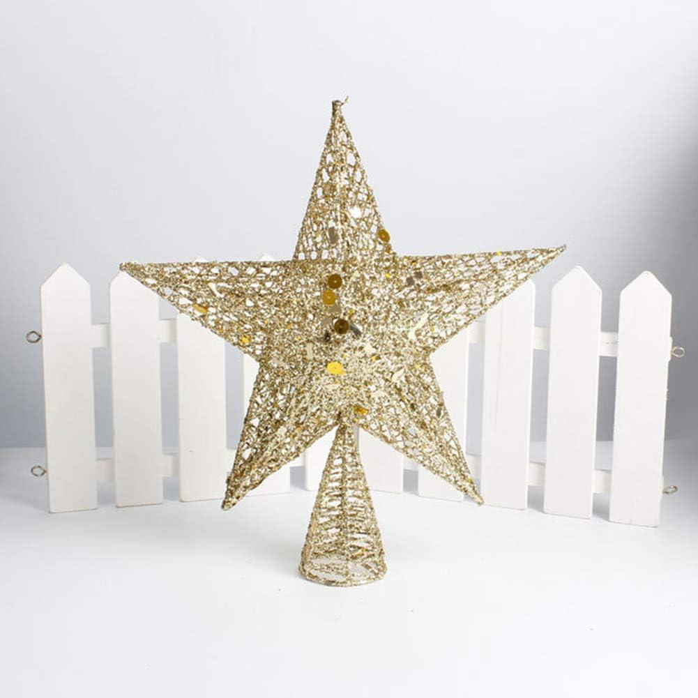 Thanksgiving Christmas Decoration Iron Xmas Party Christmas Tree Ornament Glitter Star Xmas Tree Topper Decoration mnoMINI Christmas Ornaments