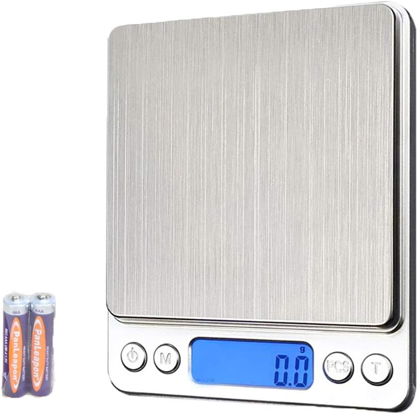 YISUYA Báscula de cocina digital de 3 kg x 0,1 g con pantalla LCD, plataforma dosificadora de alimentos de acero inoxidable