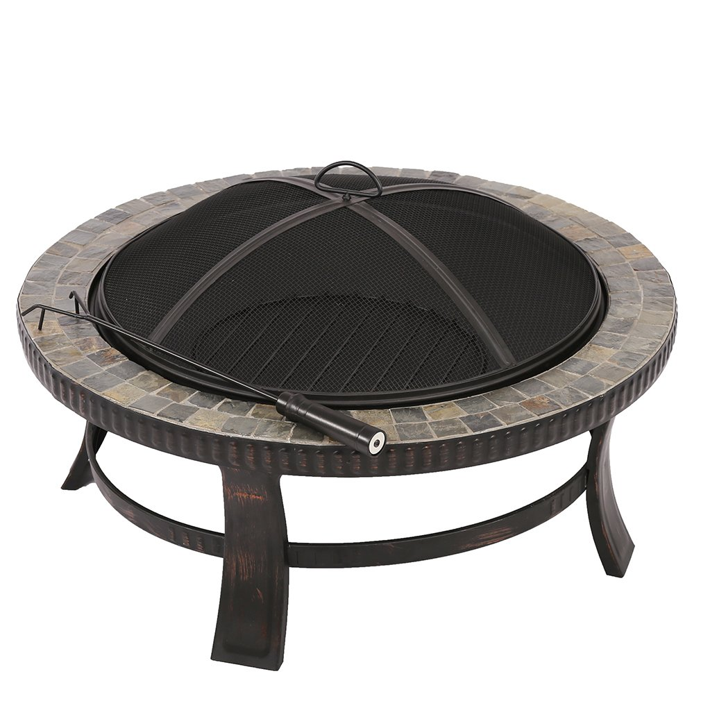 BMS Natural Stone Fire Pit with Copper Accents - 34Inch BestMassage