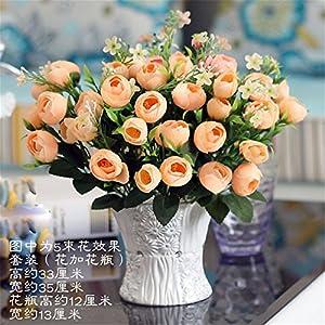 SituMi Artificial Fake Flowers Emulation Rose Camellia Ceramic Vases Home Decor Ornaments,M Yellow 87