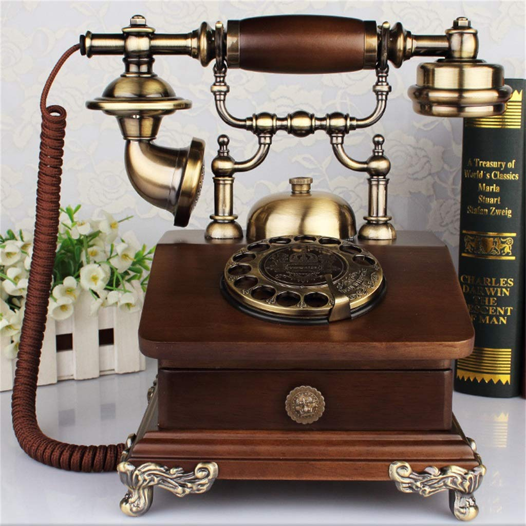 JGBHPNYX Antique Telephone European Vintage Solid Wood Garden Rotary Dialing Living Room Home Phone