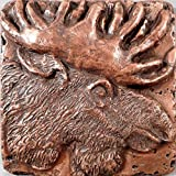 Copper Wildlife (Moose) 4''x4'' Decorative Wall Tile by Metal Tile Arts Mfg.