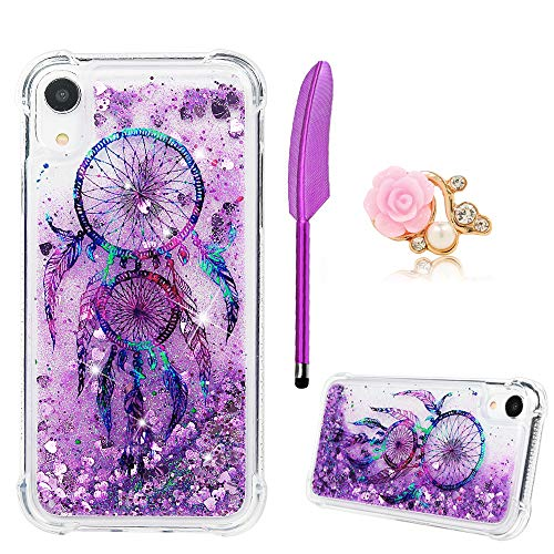ZSTVIVA iPhone Xr 6.1 inch Case, Liquid Glitter Case Cover Sparkle Love Heart Clear TPU Shockproof Bumper with Stylus Pen Plug Dust for iPhone Xr - Purple