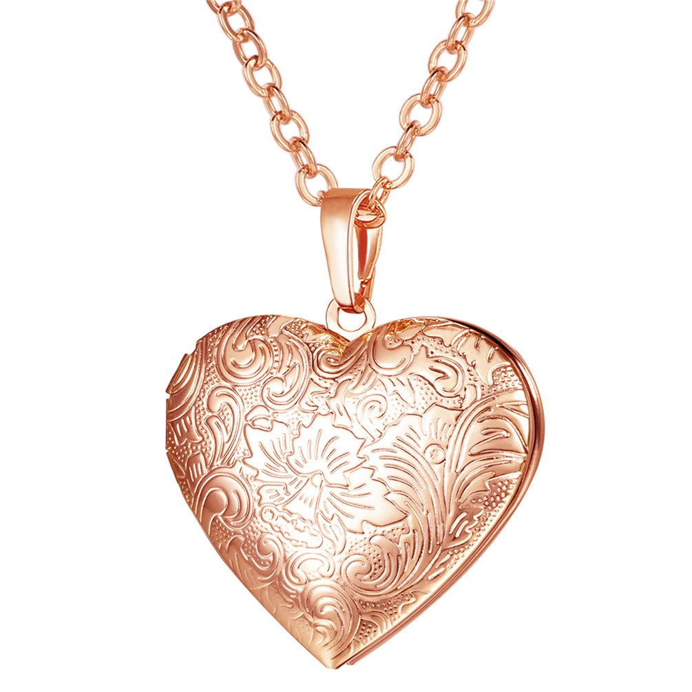 U7 Locket Necklace with Rolo Chain 22'' Rose Gold Plated Flower Engraved Heart Shaped Pendant Girls Women Valentines Jewelry - Gift Packing