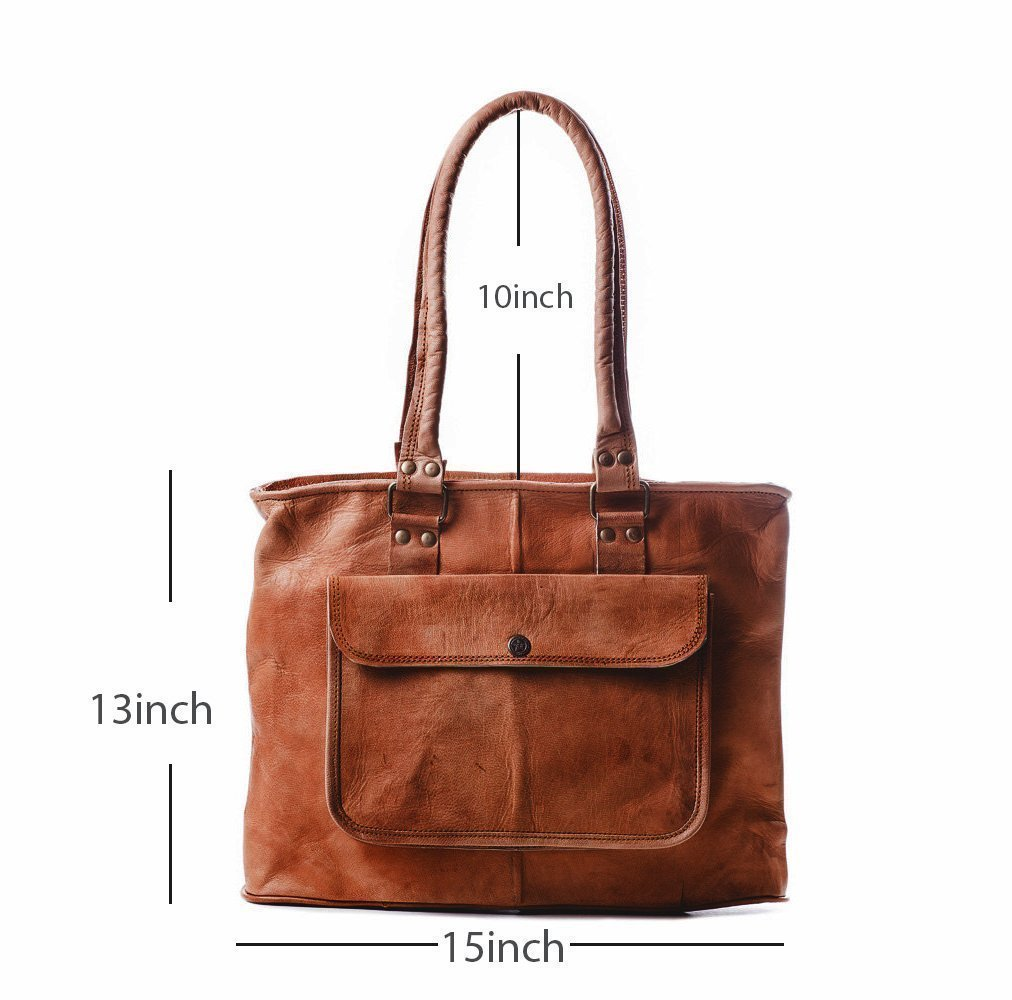 38efed2a26d Amazon.com: PASCADO Women top handle leather tote purse shoulder Vintage  brown bag 15 inch with zipper: Handmade