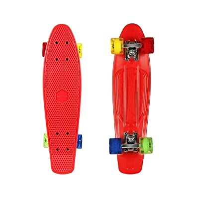 "ohderii Complete Penny 22"" Mini Cruiser Skateboard Banana Board with Bendable Deck for Kids Boys Youths Beginners : Sports & Outdoors"