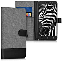 kwmobile Wallet case canvas cover for Alcatel A3 XL - Flip case with card slot and stand in grey black