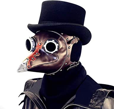 Steampunk Punk Plague Doctor Mask Bird Beak Black Gothic Halloween LARP Cosplay