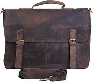 KomalC 16 Inch Retro Buffalo Hunter Leather Laptop (Fits upto 15.6 Inch Laptop) Messenger Bag Office Briefcase College Bag (Distressed Tan)