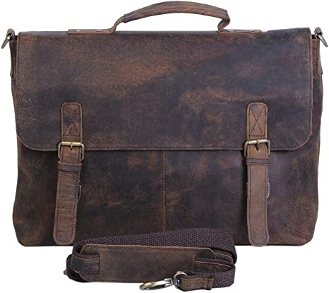 KomalC 15 Inch Black Retro Buffalo Hunter Leather Laptop Messenger Bag Fits Upto 15.6 Inch Laptop Office Briefcase College Bag