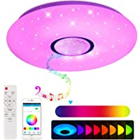 Lámpara LED de techo con altavoz Bluetooth, control por aplicación para smartphone, intensidad regulable, música RGB y…