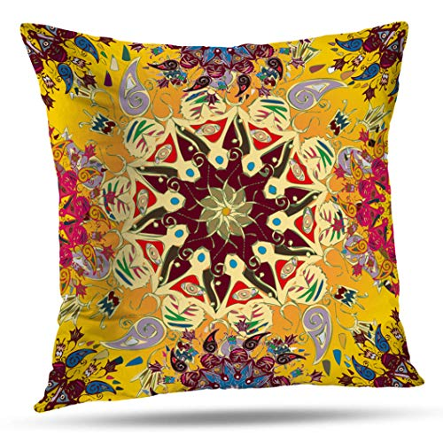 Kutita Mandala Pillow Cover,Abstract with Doodle Mandala Can Wallpaper Surface Decoration Throw Pillow Case Cushion for Sofa Living Room 18X18 Inch