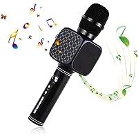 Microphone Sans Fil Karaoké, Portable Karaoké Microphone avec 2 Haut-Parleur Bluetooth Intégré, Micro Sans Fil Hf Dynamique Compatible avec Android/IOS/PC/Smartphone, Cadeau pour Enfant, Noir