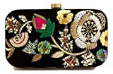 Floral Embroidered Black Velvet Clutch with Bead Work