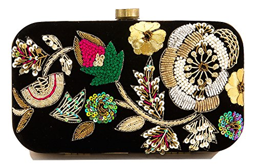 Floral Embroidered Black Velvet Clutch with Bead Work by Clutch Bazaar