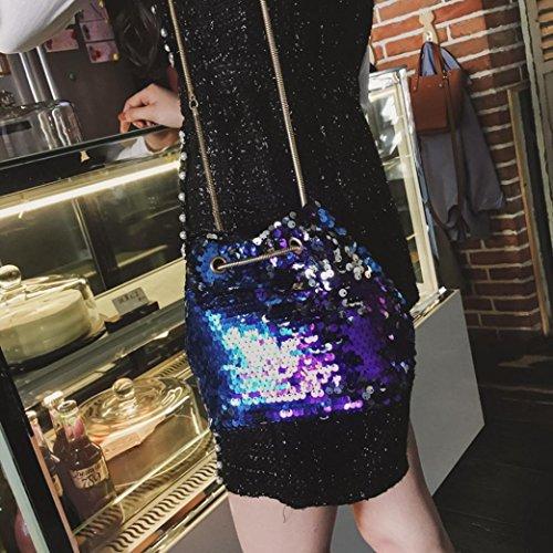 Sinwo Women Girl Fashion Shoulder Bag Female Bling Sequins Bucket Bag Handbag Messenger Bag -