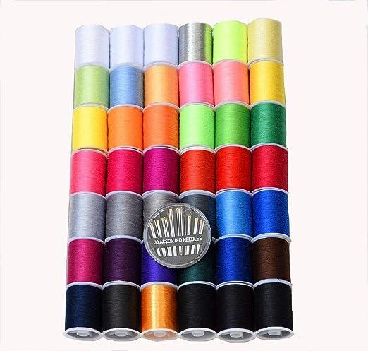 Hilo para coser de colores, 42 carretes (2103 metros), de alta ...