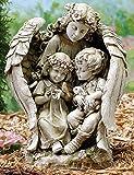 Roman 16″ Joseph's Studio Angel with Children Outdoor Garden Statue For Sale