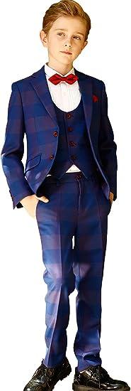 ELPA ELPA Boy Suit Kids Plaid Suits 6 Pieces Slim Fit Formal Dress Wear
