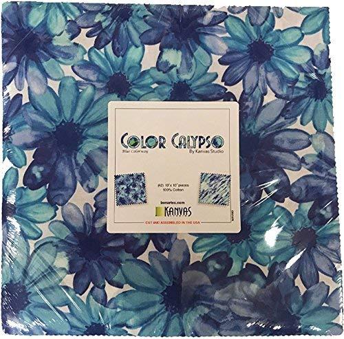 Kanvas Studio Color Calypso Blue 10X10 Pack 42 10-inch Squares Layer Cake Benartex by Benartex
