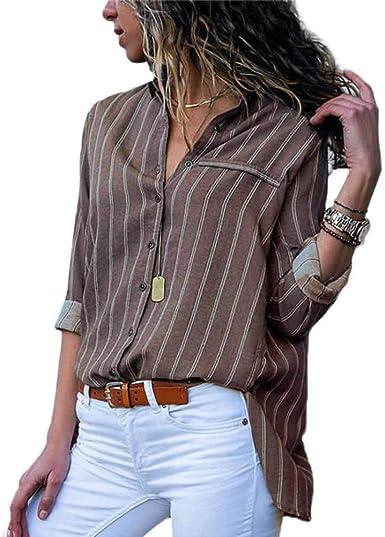 Blusa Mujer Camisa De Manga Larga Elegante a Rayas Camisas Marrón XXXL: Amazon.es: Ropa y accesorios