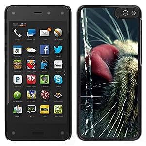 LECELL--Funda protectora / Cubierta / Piel For Amazon Fire Phone -- Gato American Shorthair Curl Lengua lindo --