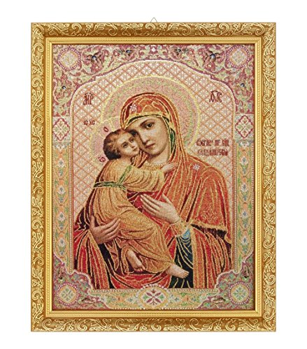 FengMicon Religious Icon Mother Mary and Jesus Christ Catholic Gift Christian Tapestry Framed by FENGMICON