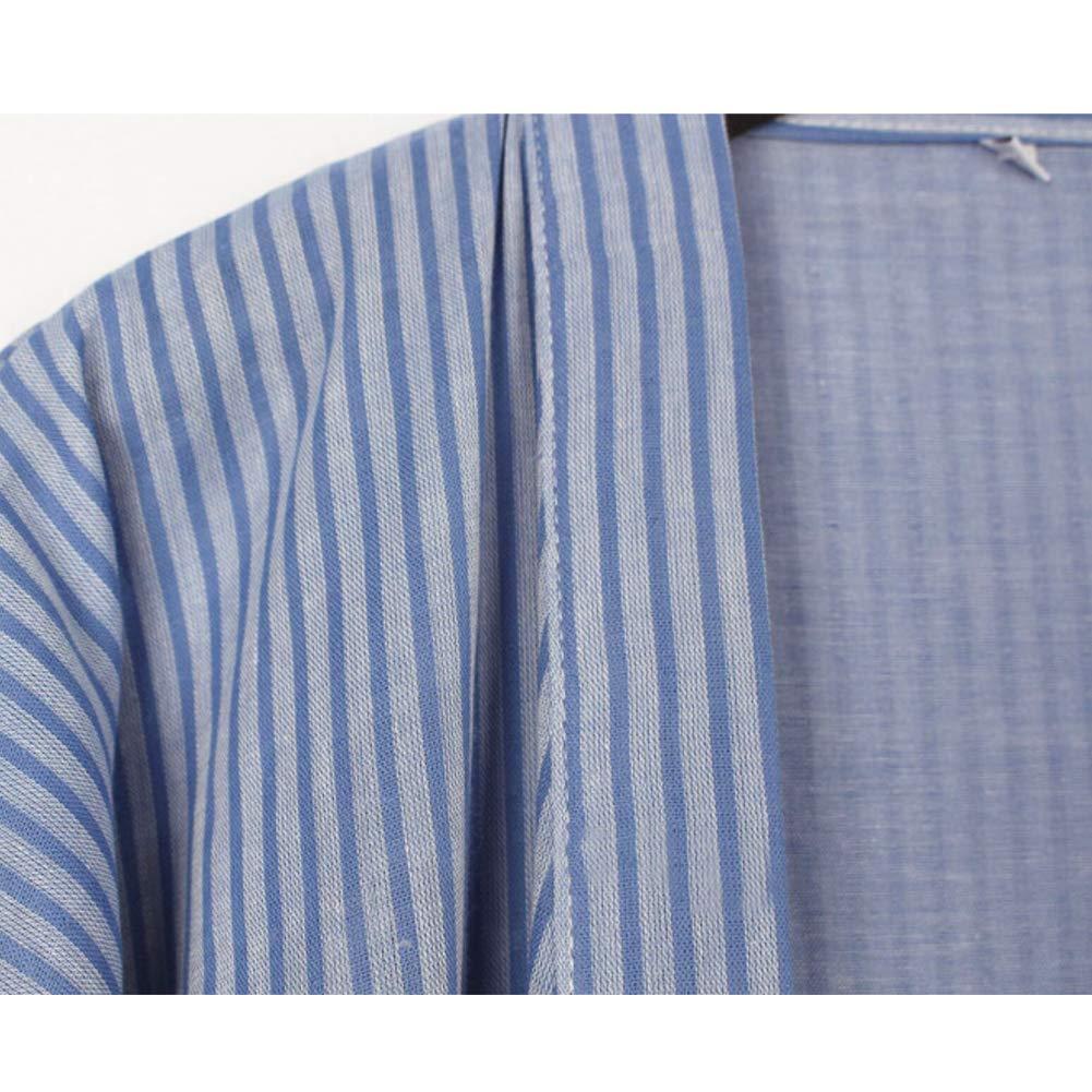 FANCY PUMPKIN Mens Japanese Style Robes Pure Cotton Kimono Robe Bathrobe Pajamas #07