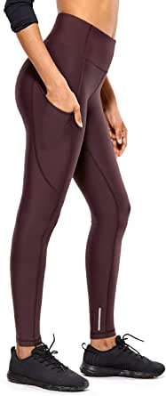 CRZ YOGA Thermal Fleece Lined Leggings Women High Waisted Winter Yoga Pants with Pockets-28 Inches