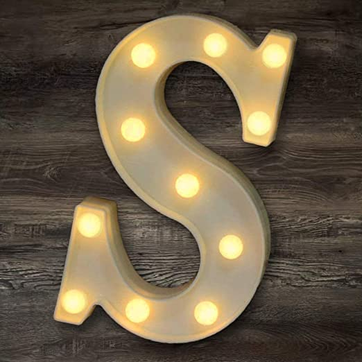 YOEEN LED Marquee Letter Lights Sign Light Up Letters Battery Powered Alphabet Letters for Wedding Birthday Party Christmas Night Light Home Bar Decoration (S)