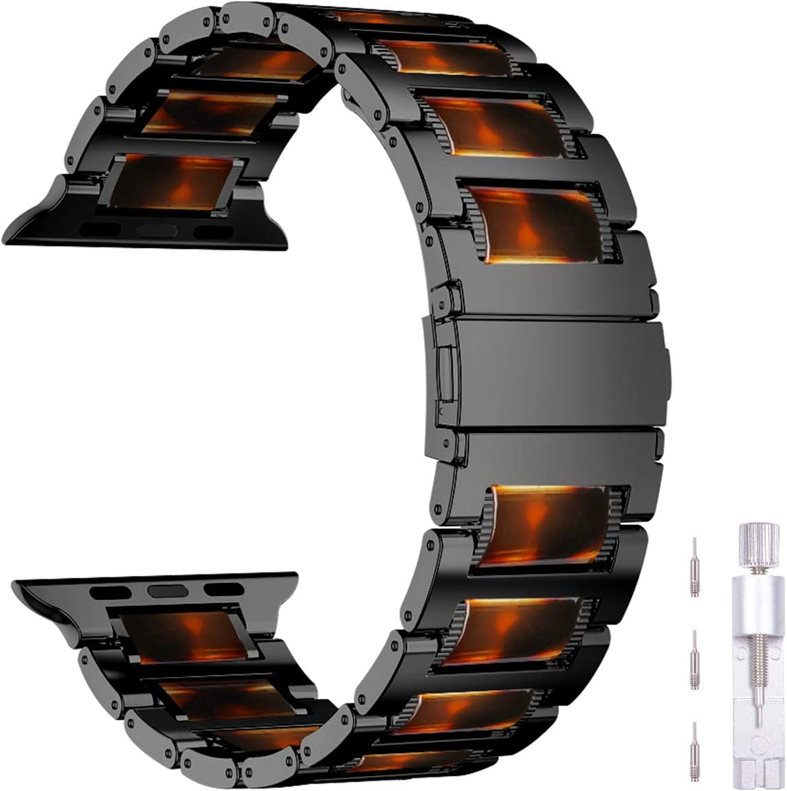 iiteeology Compatible with Apple Watch Band 44mm 42mm, Resin Stainless Steel Link Band Bracelet with Metal Buckle Strap for Apple Watch SE Series 6 Series 5 4 3 2 1 - Dark Amber Resin + Black Steel
