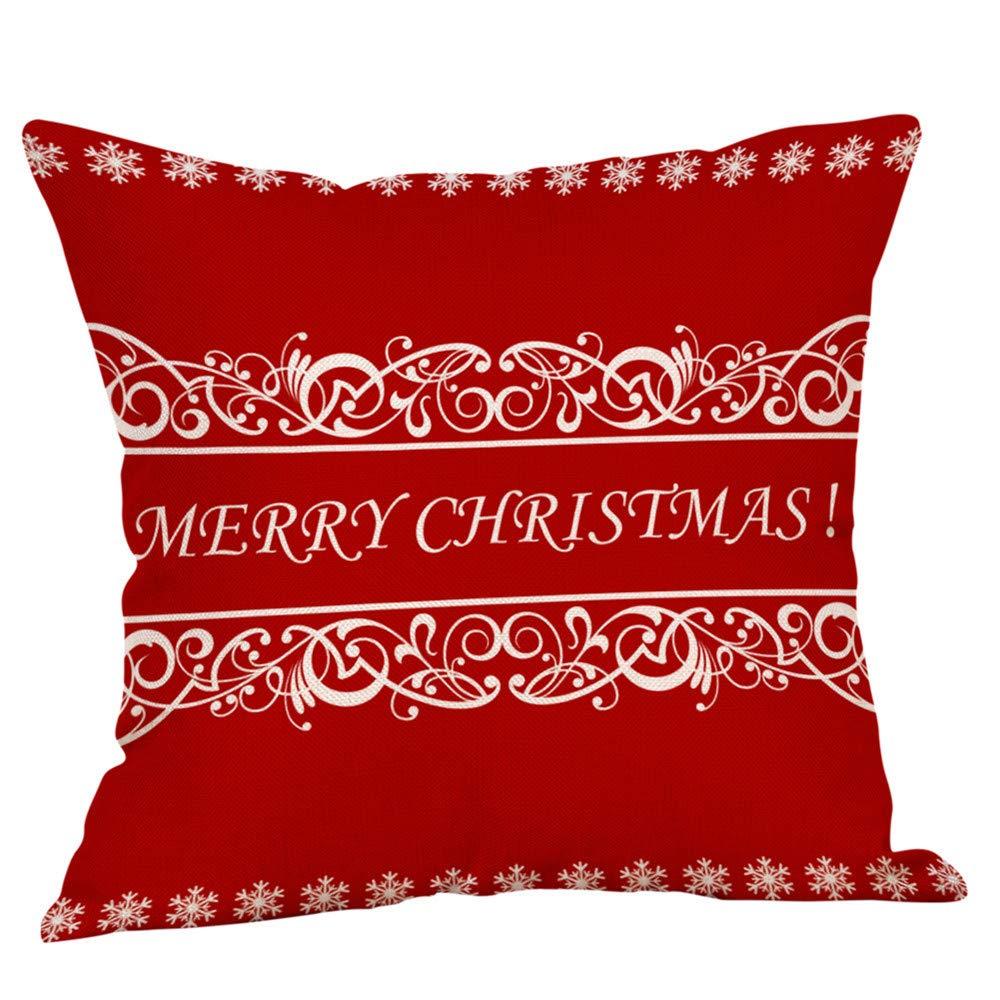 Happy Newyear Retro Christmas Pgojuni Throw Pillow Cases Cushion Cover Flax Pillow Cover 1pc 45cmx45cm (I)