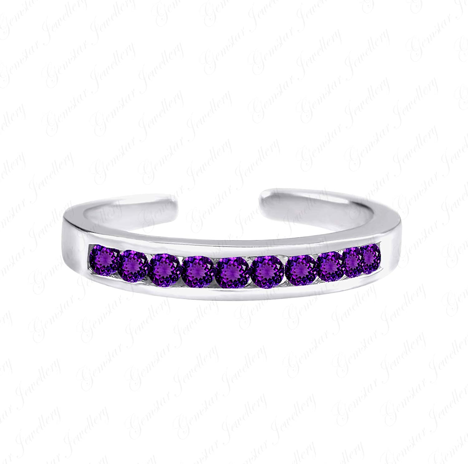 Gemstar Jewellery Classy Look Retro Toe Ring with Purple Amethyst 14k White Gold Plated 925 Silver