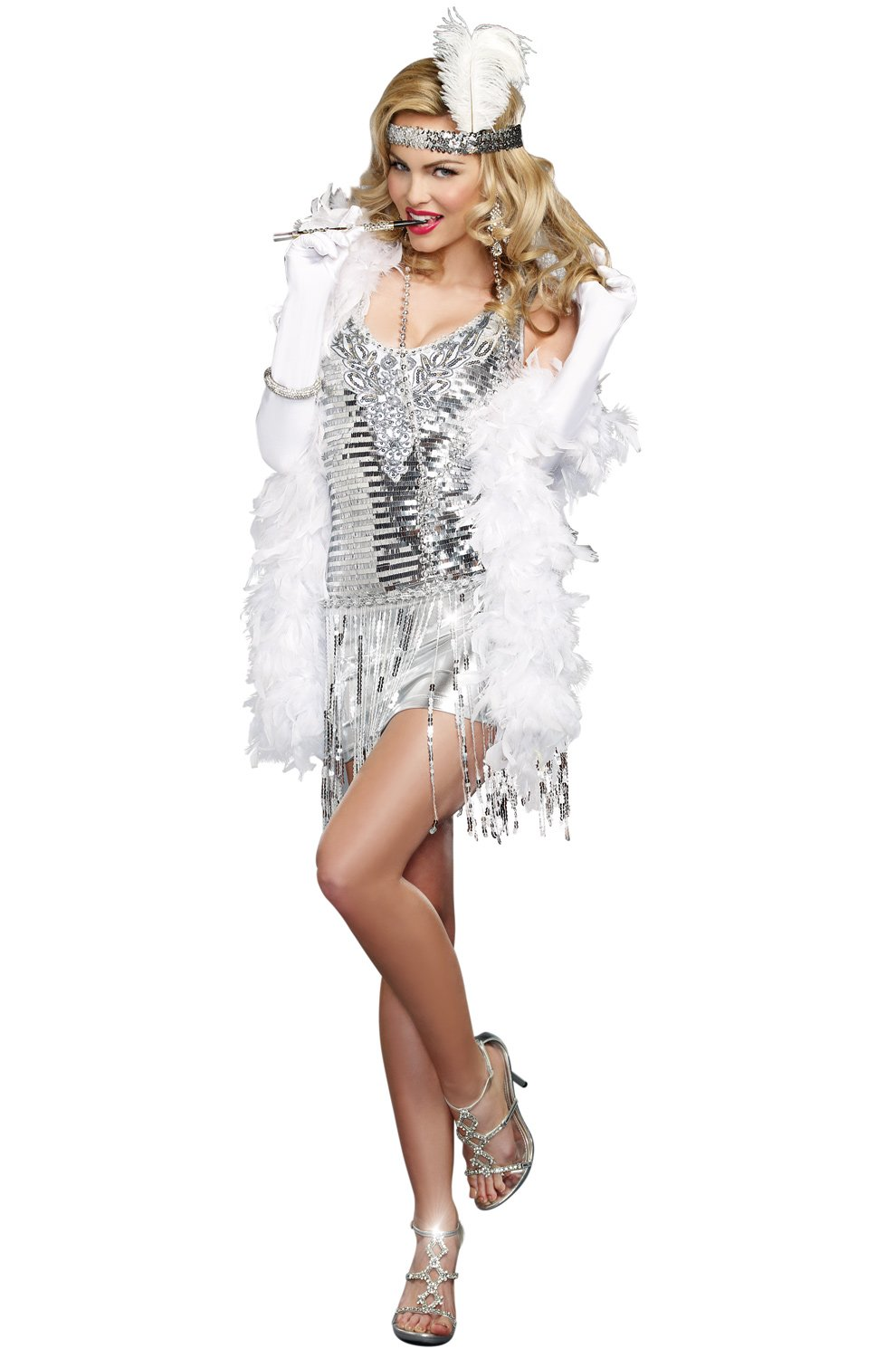 Dreamgirl Women's Plus-Size Life's A Party, Silver, Medium