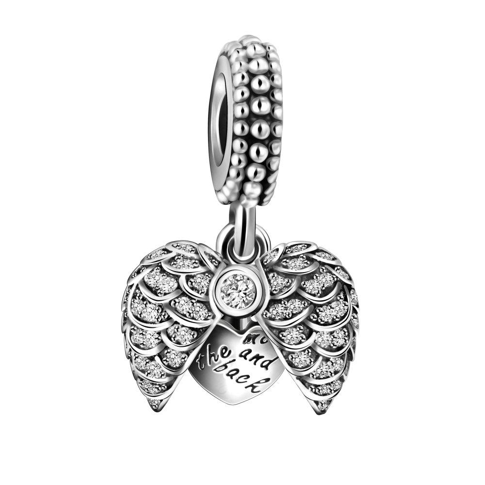 3ed3f041f Amazon.com: 925 Sterling Silver Guardian Angel Wings Open Heart Dangle  Charm Bead for European Snake Bracelets: Jewelry